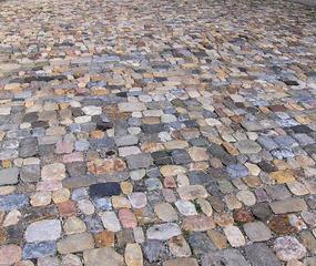 Straßenpflaster #2 - Steine, Straße, Pflaster, Pflasterung, Mittelalter, Kiesel, Belag, bunt, grau, Muster, Struktur