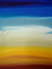Acrylbild Landschaft  - Acrylbild, Landschaft, Abendstimmung, kalte Farben, warme Farben, Bild, Farbenlehre