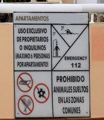 Spanisches Hinweisschild  - Schild, Hinweis, Information, spanisch, Spanien, Verbot, Piktogramm