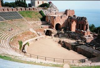 Antikes Theater Taormina - Theater, antik, römisch, griechisch, Antike, Taormina, Sizilien, Italien, Architektur, Zuschauer, Schauspiel, Kämpfe, Gladiatoren, Arena