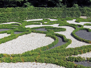 Barockgarten  - Barockgarten, Barock, Garten, Hecken, Buxbaum, Muster, Ornamente, Kies, französischer Garten, Gartenkunst