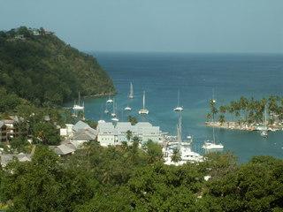 Die Marigot-Bay auf St. Lucia - St Lucia, Marigot Bay, Bucht, Wasser, Karibik, grün