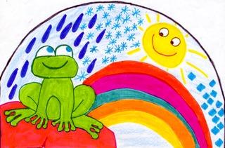 Regenbogen mit Wetterfrosch - Wetter, Regenbogen, Wetterfrosch, Regen, Sonne, Illustration