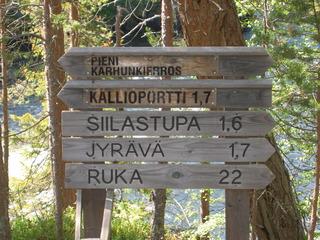 Oulanka Nationalpark  - Oulangan kansallispuisto, Finnland, Nationalpark, wandern, Freizeit, Landeskunde, Noreuropa, Geografie, karhunkierros, Bärenpfad, Bärenrunde, Wanderschild, Wegweiser, Entfernung, Entfernungsangabe, Wanderweg