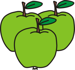 Äpfel - Apfel, Äpfel, grün, drei, Obst, Frucht, Anlaut Ae