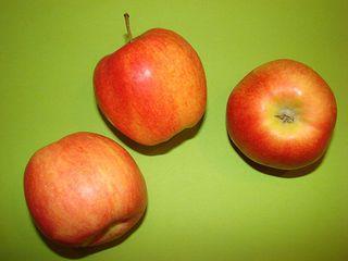 Äpfel - Äpfel, Apfel, Anlaut AE, Obst, Frucht, Royal Gala, rot, süß, Kernobst, Rosengewächs, Kerne, drei
