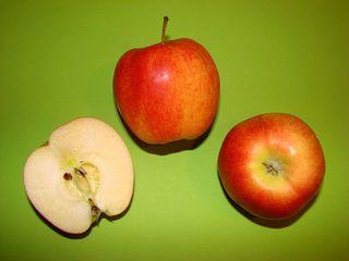 Äpfel - Äpfel, Apfel, Anlaut AE, Obst, Frucht, Royal Gala, rot, süß, Kernobst, Rosengewächs, Kerne, Kerngehäuse, Stiel, Samen