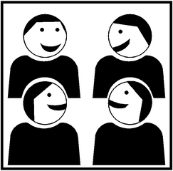 Piktogramm Kooperatives Lernen - Gruppenarbeit #1 - Gruppenarbeit, Sozialform, Zusammenarbeit, Gruppe, kooperativ, Austausch, vier