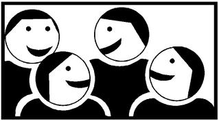 Piktogramm Kooperatives Lernen - Gruppenarbeit #2 - Gruppenarbeit, Sozialform, Zusammenarbeit, Gruppe, kooperativ, Austausch, vier