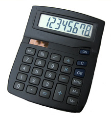 Taschenrechner - Taschenrechner, Tischrechner, schwarz, rechnen, dividieren, multiplizieren, addieren, subtrahieren, Mathematik, Schreibtisch, Bürogerät, Büromaterial, Wurzel, Summe, solar, Ziffer, Zahl, Betrag