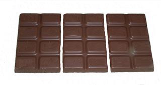 Bruchrechnung mit Schokolade #11 - Schokolade, Tafel, braun, süß, naschen, Stücke, Naschwerk, lecker, Bruch, Bruchrechnen, Teil, Teile, teilen, aufteilen, Brüche, Bruchteile, Bruchrechnung, Drittel, drei.