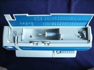 Pfaff select 2.0 Draufsicht - Nähmaschine, Garnrolle, Garnrollenhalter, Spuleinrichtung, Fadenhalter