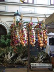 Zwiebelzopf auf dem Zwiebelmarkt - Zwiebel, Zwiebelzopf, Volksfest, Weimar, Zwiebelmarkt, Gemüse, Landwirtschaft, Brauchtum