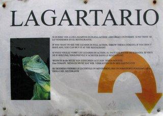 Lagartario - Schild in Spanisch mit zum Teil verqueren Übersetzungen - Schild, Spanisch, Übersetzung, Fehler