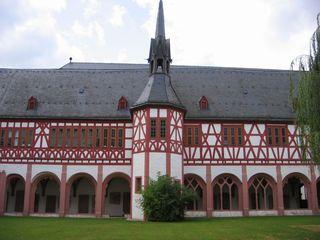 Kreuzgang Kloster Eberbach #3 - romanisch, Kloster, Kreuzgang, Kapitel, Säule, Turm, Fachwerk