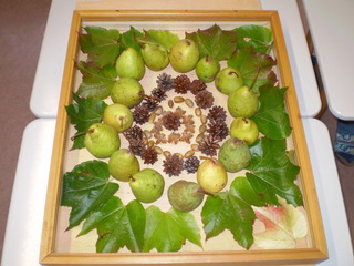 LandArt - Mandala, Herbst, Früchte, Birne, Blatt, Blätter, Naturmaterial, LandArt, Naturkunst, Kunst, Bildnerisches Gestalten, Naturbild