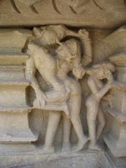 Figuren an einem Hindutempel - Kamasutra, Liebende, Hindutempel, Khajuraho, Indien, Hinduismus, Fries, Liebe