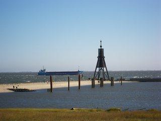 Kugelbake - Cuxhaven, Niedersachsen, Wahrzeichen, Kugelbake, Elbe, Elbmündung, Gezeiten, Ebbe, Flut