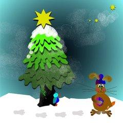 Hase im verschneiten Wald - Hase, Weihnachten, verschneiter Wald, Wald, Tannenbaum, Stern, Päckchen, Geschenk, Weihnachtsgeschenk, Schreibanlass