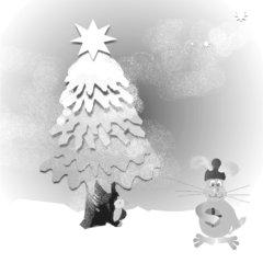 Hase im verschneiten Wald zum Ausmalen - Hase, Weihnachten, verschneiter Wald, Wald, Tannenbaum, Stern, Päckchen, Geschenk, Weihnachtsgeschenk, Schreibanlass
