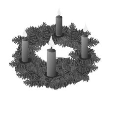 Adventkranz - Adventskranz, Kerze, Kerzen, brennen, Advent, vier, Kranz, Anlaut A, Anlaut K, Wörter mit v