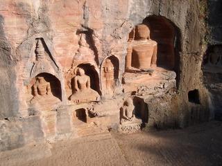Buddha-Statuen - Buddhastatuen, Buddhismus, Fort Gwalior, Indien, Buddha, Felsen, Stein, Bildhauerei, Monolith
