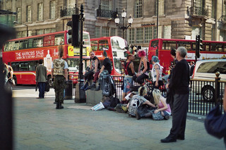 Piccadilly Circus - England, London, Sights, Piccadilly Circus, Punks, Doppeldecker, Bus, Straße