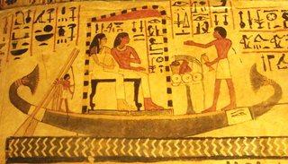 Sennefer und Schiff - Sennefer, Schiff, Grab, Grabgemälde, Ägypten, Theben, Nil, Totenkult