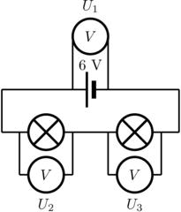 Spannungsmessung im unverzweigten Stromkreis - Spannung, Verbraucher, unverzweigt, Kirchhoff, Physik, Stromkreis, Reihenschaltung, Serienschaltung, Schaltskizze