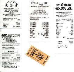 Quittungen und Metroticket - Quittung, Japan, Metro, Ticket, Fahrschein
