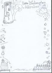 Schmuckblatt zum Thema Märchen - Märchen, Wochenplan, Schmuckblatt, Rahmen, Prinzessin, Schneewittchen, Frau Holle, Rapunzel, Märchenmotive, magische Zahlen