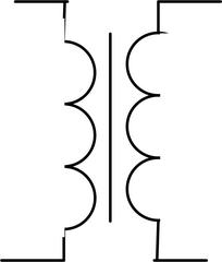 Transformator - groß - Transformator, Trafo, Schaltsymbol, Stromkreis