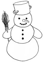 Schneemann mit Topf - Winter, Schnee, Schneemann, kalt, Illustration, Anlaut Sch