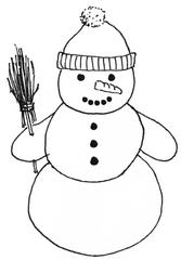 Schneemann mit Mütze 1 - Winter, Schnee, Schneemann, kalt, Illustration, Anlaut Sch