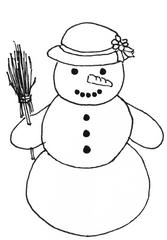 Schneemann mit Hut - Winter, Schnee, Schneemann, kalt, Illustration, Anlaut Sch