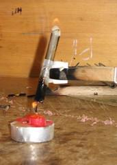 Tochterflamme einer Kerze #1 - Kerze, Versuch, Experiment, Gas, brennbar, Dämpfe, Tochterflamme, Wachsdampf