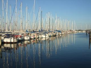 Hafen - Seegelboote, Boote, Hafen, Meer, Wasser, segeln, Freizeit, Freizeitaktivität, Wassersport, Erholung, Perspektive, Spiegelung