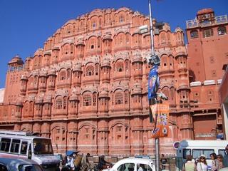 Palast der Winde - Palast, Fassade, Maharaja, Jaipur, Indien, Hawa Mahal, Lustschloss, Sandstein, Fassade