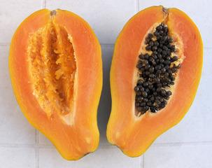 Papaya #2 - Papaya, Frucht, Obst, Nahrungsmittel, orange, Beere, Kerne, schwarz, Vitamine