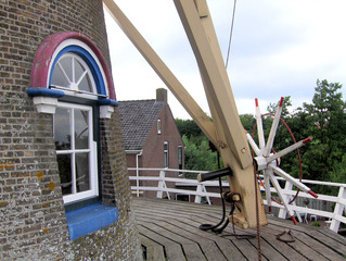 """Holländermühle """"De Onderneming"""" von 1860 in Wissenkerke, Zeeland/NL-3 - Holländermühle, Galeriemühle, mahlen, Korn, Kornmühle, Mehl, Mahlstein, Galerie, Flügel, Wind, Getreide, Energie, Niederlande, Holland"""