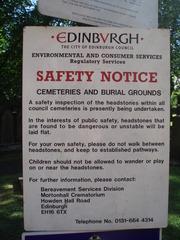 Edinburgh Safety Notice - Edinburgh, Cemetery, Friedhof, Sicherheit