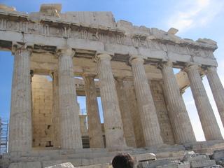 Dorisches Säulenkapitell - Parthenon, Hellas, Amphiprostylos, dorische Säulenkapitelle, 20 Kanneluren, dreistufiger Unterbau, Stylobat, Marmor, Säule, Säulen, Tempel, alt