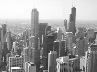 Chicago Skyline Schwarz-weiß-Aufnahme - Chicago, Sehenswürdigkeiten, Wahrzeichen, Wolkenkratzer
