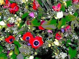 Blumen  - Glückwünsche, Blumen, bunt, Computergrafik, Kontrast, Farbkontrast, Blumenstrauß