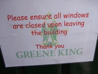 Close the windows, please! - sign, brewery, window, windows, close, polite
