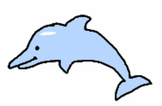 Delfin gemalt (bunt) - Delfin, Wassertier, Illustration, Anlaut D