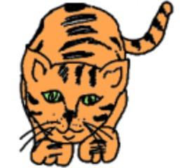 Katze getigert, gemalt (bunt) - Katze, Haustier, Säugetier, Anlaut K, Illustration