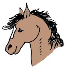 Pferd gemalt (bunt) - Pferd, Säugetier, Bauernhof, Nutztier, Illustration, Anlaut P