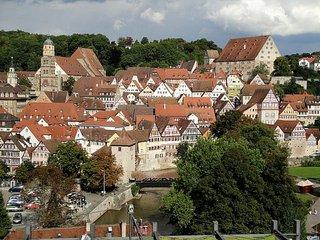 Blick auf Schwäbisch Hall - Schwäbisch Hall, Fachwerkhäuser, Altstadt, Baden-Württemberg, Kleinstadt, Kirche, Kocher