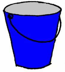 Eimer_blau - Eimer, blau, Illustration, Farbe, Kübel, Putzeimer, Behälter, Wassereimer, Anlaut Ei, Kübel